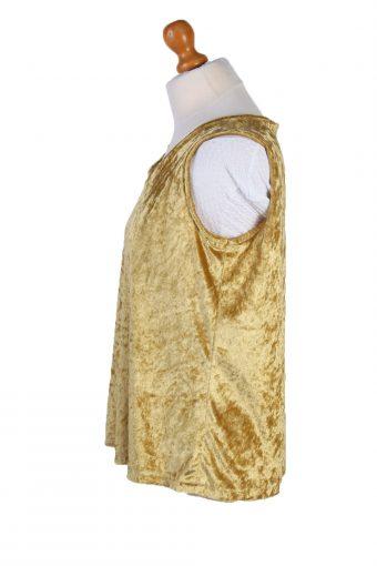 """Vintage Womens Velvet Vest Waistcoat Gilet Chest 39"""" Yellow LB324-131708"""