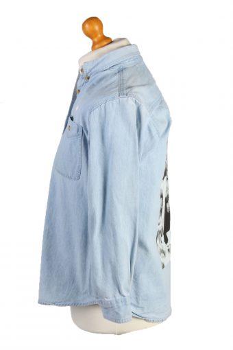 Vintage Lee Audrey Hepburn Printed Unisex Long Sleeve Denim Shirt M Ice Blue SH3961-132082