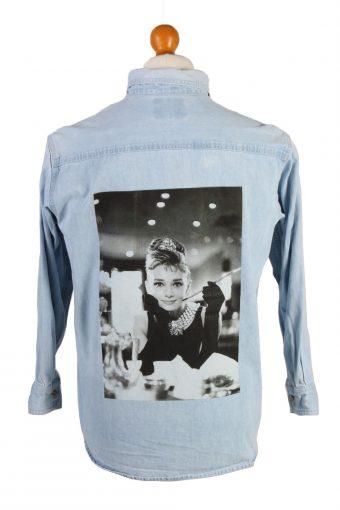 Lee Denim Shirt Remake Audrey Hepburn Printed Long Sleeve Ice Blue M