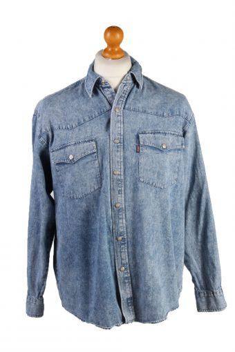 Vintage John Baner Audrey Hepburn Printed Unisex Long Sleeve Denim Shirt Size 15.5 (UK) Mid Blue SH3970-132116