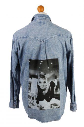 90s Denim Shirt Remake Audrey Hepburn Printed Long Sleeve Mid Blue L