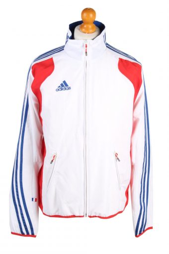 Adidas Mens Track Top France Full Zip Lined White M