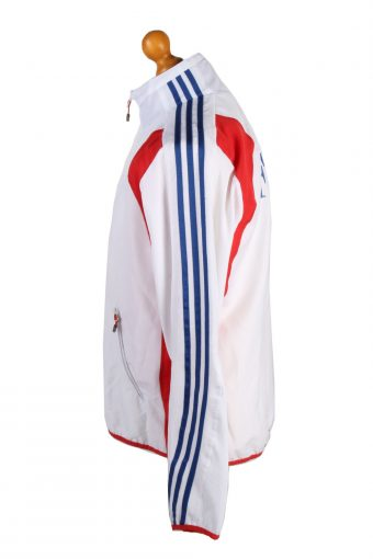 Adidas Mens Tracksuit Top France Vintage Full Zip Lined Size 36/38 White -SW2555-131284