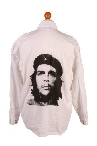 Che Guevara Printed Remake Denim Shirt Long Sleeve White XL