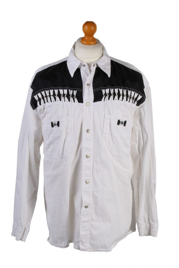 Vintage John Baner Che Guevara Printed Unisex Long Sleeve Denim Shirt Reworked Size 15.5 (UK) White SH3977-133699