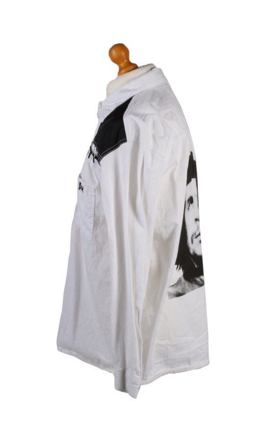 Vintage John Baner Che Guevara Printed Unisex Long Sleeve Denim Shirt Reworked Size 15.5 (UK) White SH3977-133700