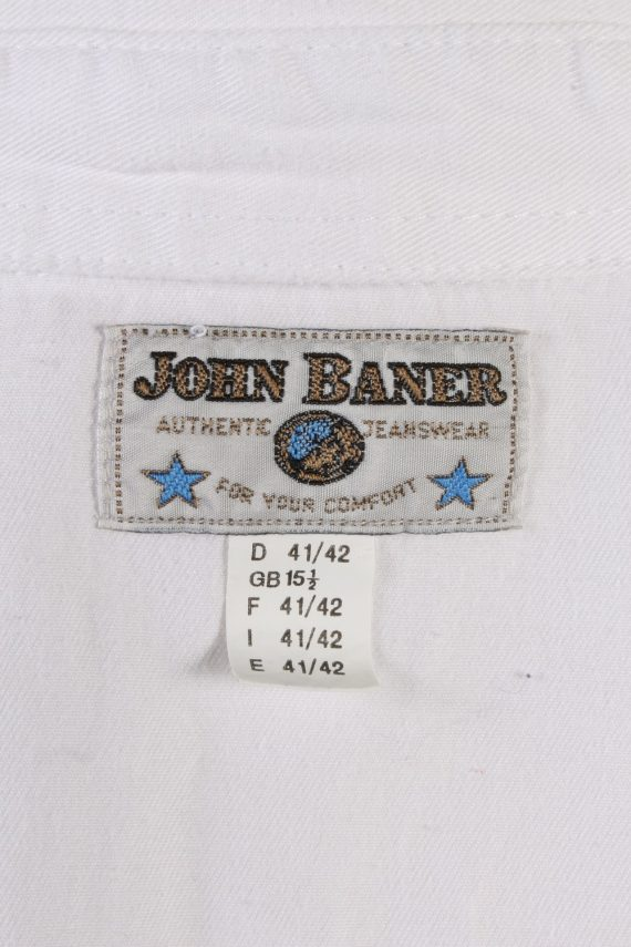 Vintage John Baner Che Guevara Printed Unisex Long Sleeve Denim Shirt Reworked Size 15.5 (UK) White SH3977-133701
