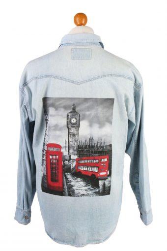 Denim Shirt London Big Ben Printed Remake Long Sleeve Light Blue L