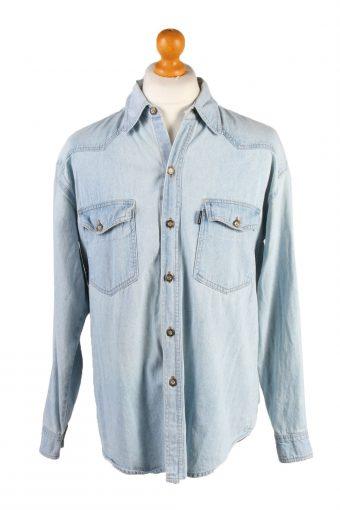 "Vintage Cheriano London Big Ben Printed Unisex Long Sleeve Denim Shirt Reworked Chest 44"" Light Blue SH3988-133743"