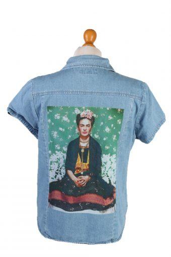 Denim Shirt Frida Printed Women Denim Shirt Long Sleeve Remake Mid Blue L