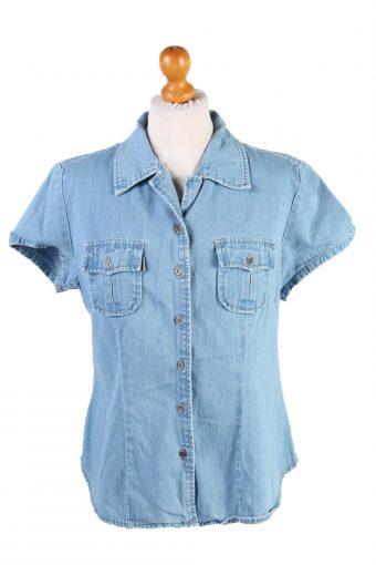 "Vintage Jep's Frida Printed Womens Long Sleeve Denim Shirt Reworked Chest 43"" Mid Blue SH3995-133771"