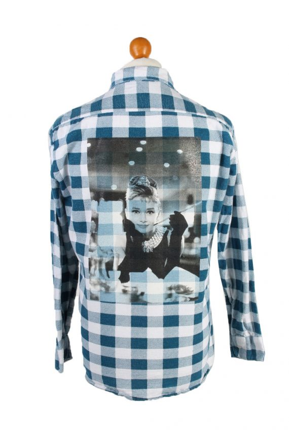 Vintage Lord George Audrey Hepburn Printed Unisex Long Sleeve Flannel Shirt Reworked 39 Multi SH3996-0