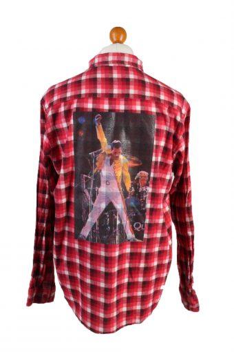 Flannel Shirt Freddie Mercury Printed Remake Long Sleeve Red L