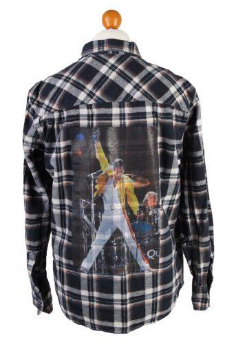 Flannel Shirt Freddie Mercury Printed Remake Long Sleeve Navy L
