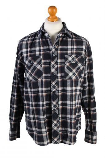 Vintage Kmart Freddie Mercury Mens Long Sleeve Flannel Shirt Reworked L Navy SH3998-133783