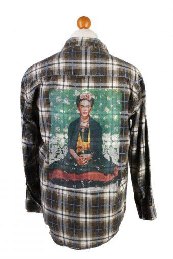 Flannel Shirt Remake Frida Printed Long Sleeve Brown M