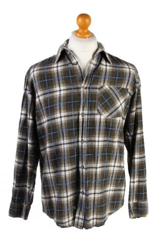 Vintage Quattro Amici Frida Printed Unisex Long Sleeve Flannel Shirt Reworked M Brown SH3999-133787