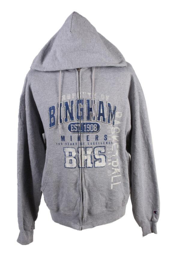 Vintage Champion Full Zip Hoodie Sweatshirt Top Unisex L Grey -SW2593-0
