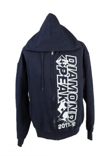 Champion Full Zip Hoodie Sweatshirt Top Navy L