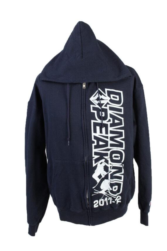 Vintage Champion Full Zip Hoodie Sweatshirt Top Unisex L Navy -SW2599-0