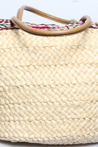 Vintage Summer Straw Knitted Womens Shoulder & Hand Bag Beige