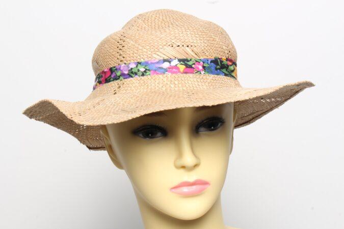 Vintage Womens Summer 100% Straw Trilby Hat Brown HAT1496-0