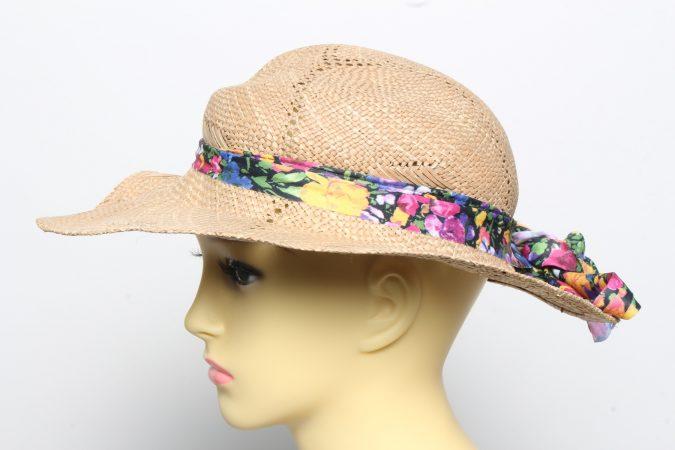Vintage Womens Summer 100% Straw Trilby Hat Brown HAT1496-135127