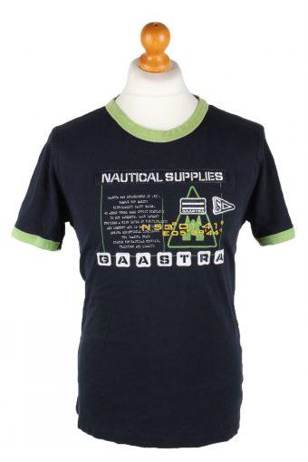 Men T-Shirt 90s Retro Shirt Navy Blue L