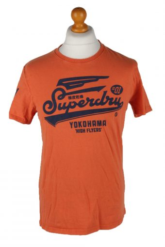 SuperDry Mens T-Shirt Tee Crew Neck Orange L