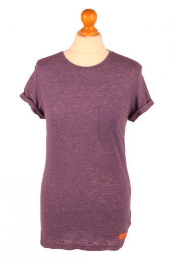 SuperDry Womens T-Shirt Tee Crew Neck Purple S