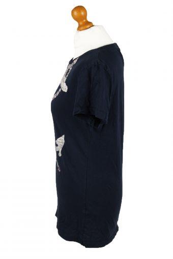 Vintage Timberland Womens T-Shirt Tee Crew Neck L Blue TS440-136388