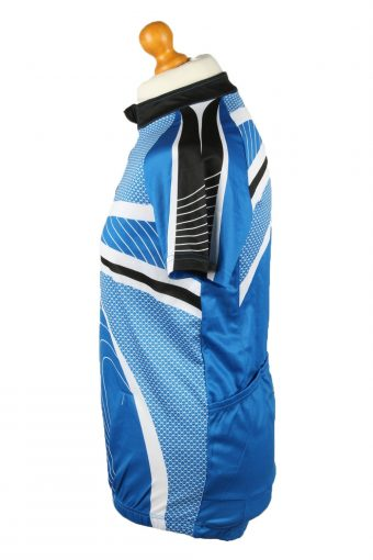 Vintage Crivit Unisex Cycling Jersey Short Sleeve Half Zip With Back Pockets M Blue CW0778-140013