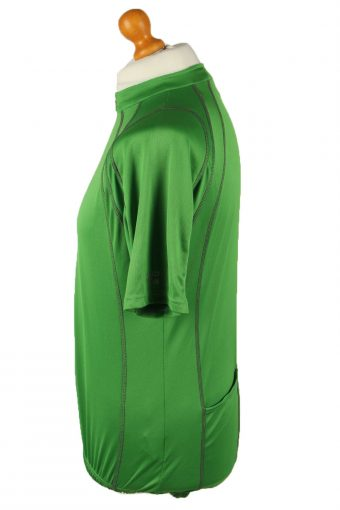 Vintage Unisex Cycling Jersey Short Sleeve Half Zip With Back Pockets XL Green CW0784-140037
