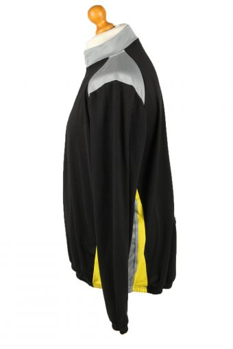 """Vintage Unisex Cycling Jersey Long Sleeve Half Zip With Back Pockets Chest 52"""" Black CW0789-140057"""