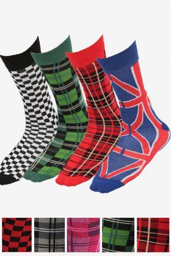 New Women/Men Socks Unique Printed Check Design Bright Assorted Colours
