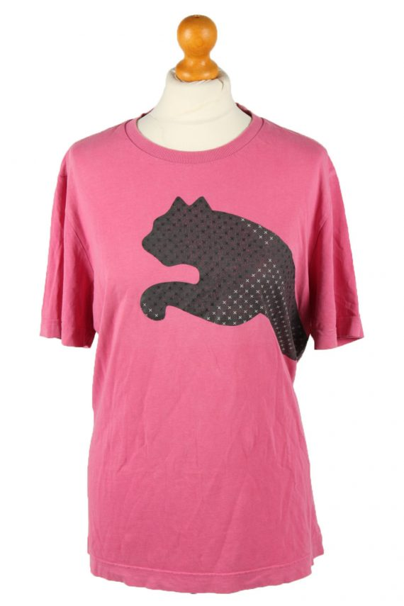 Vintage Puma Womens T-Shirt Tee Crew Neck L Pink TS443-0