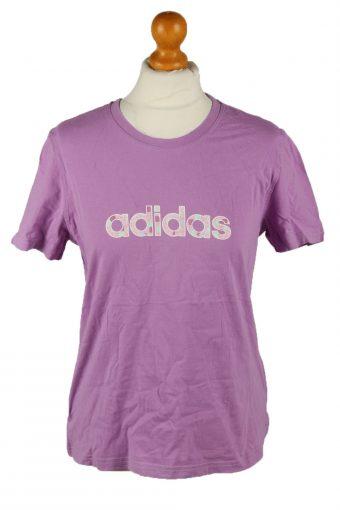 Adidas Womens T-Shirt Tee Crew Neck Purple L