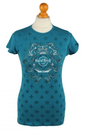 Hard Rock Cafe Womens T-Shirt Tee Crew Neck Turquoise S