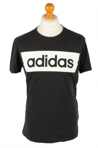 Adidas Mens T-Shirt Logo Print Crew Neck Black L