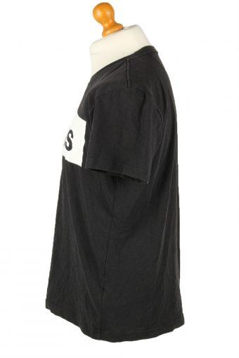 Vintage Adidas Mens T-Shirt Shirt Logo Print Crew Neck L Black TS490-139473
