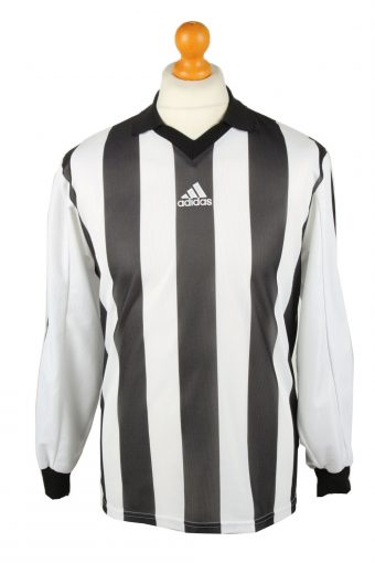 Adidas Football Jersey Shirt Black & White 3 Stripes S S