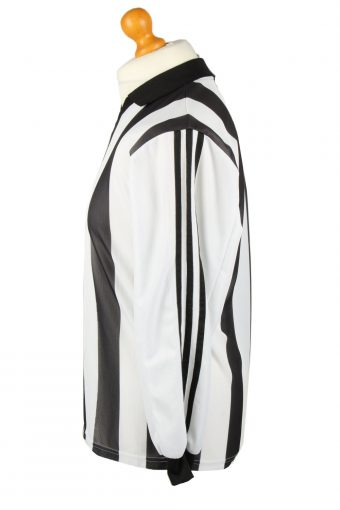 Vintage Adidas Football Jersey Shirt Black & White 3 Stripes S CW0801-142896