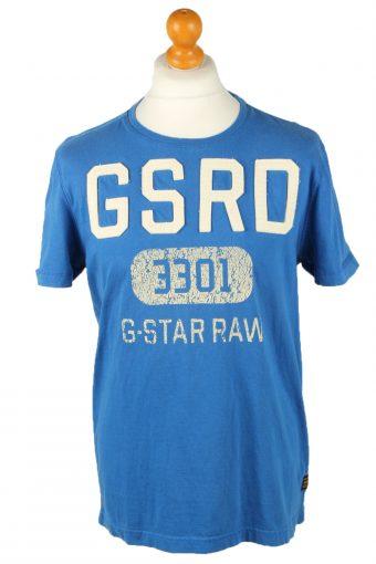 G-Star Mens T-Shirt Tee Crew Neck Blue L