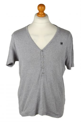 G-Star Mens T-ShirT-Shirt Button Neck Grey L