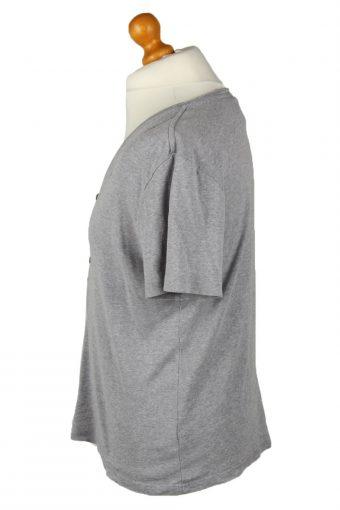 Vintage G-Star Mens T-Shirt Shirt Tee Button Neck L Grey TS530-141902