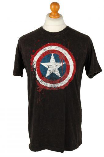 90s T-Shirt Tee Distressed Captain America Shield Logo Black L