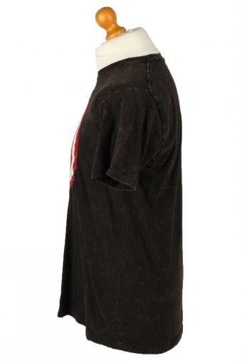 Vintage Marvel Unisex T-Shirt Tee Distressed Captain America Shield Logo L Black TS540-142084