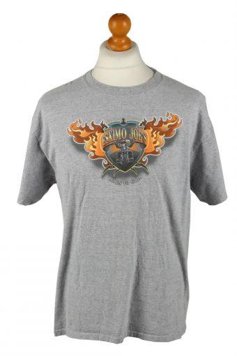 90s T-Shirt Top Crew Neck Grey L