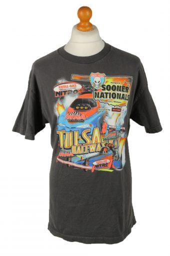 90s Printed T-Shirt Top Tulsa Raceway Grey L