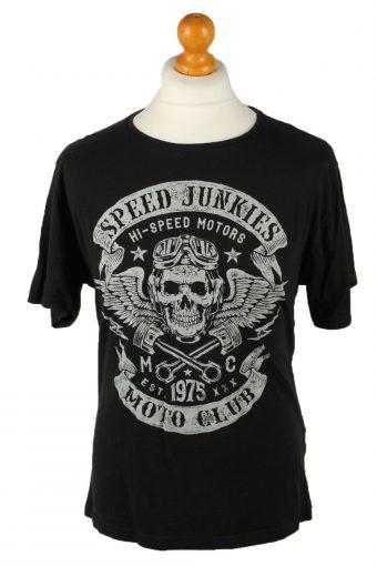 Speed Junkies T-Shirt Tee Top Moto Club Printed Crew Neck Black L